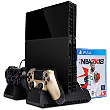 Zacro PS4 / Slim/Pro Cooling Stand with Dual USB HUB Charger Ports,All in 1 Vertical Stand for Playstation 4 or PS4 Slim or PS4 Pro Series (Black)