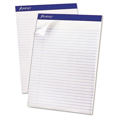 Writing Pad, Perfed, Legal Rule, Ltr, White, 50-Sheet Pads, Dozen, Sold as 1 Dozen by Ampad by Ampad