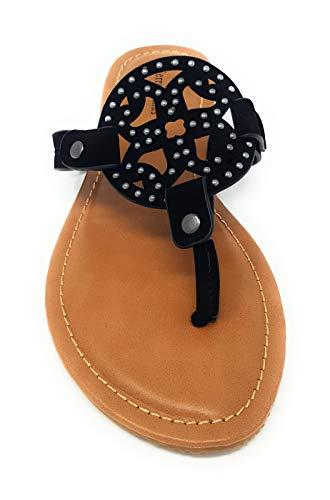 Flats Strap Dumas Vegan T Black Leather Women's Sandals Thong Ornamented Pierre 11 limit13 Limit vfwd7v8q
