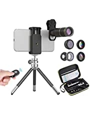 APEXEL 6 in 1 Cell Phone Camera Lens Kit,16X Telephoto Lens+198 Degree Fisheye Lens+0.63X Wide Angle&15X Macro Lens+Kaleidoscope+CPL Filter with Mini Tripod for iPhone Samsung and most Smartphone