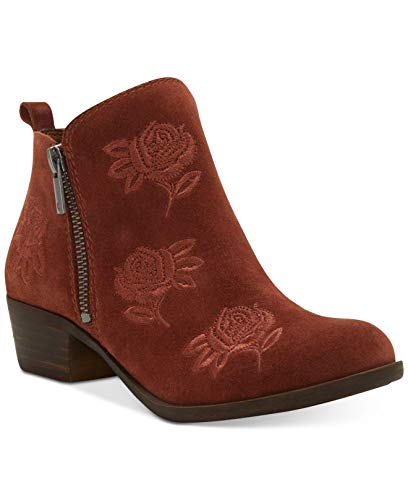 Lucky Brand Womens Basel 5 Closed Toe Ankle Fashion Boots, Red Oak, Size 5.0