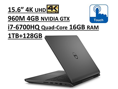 Dell Inspiron 7000 i7559 15.6' UHD (3840x2160) 4K TouchScreen Gaming Laptop: Intel Quad-Core i7-6700HQ | 16GB RAM | NVIDIA GTX 960M 4GB | 1TB + 128GB SSD | Backlit Keyboard | Windows 10 - Grey