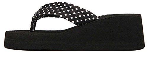 de Sandals Dot Minetom Wedge Tongs Chaussures Femmes Plage Talon Flops Imprimer Haut Flip Noir 4qPxwFXpq