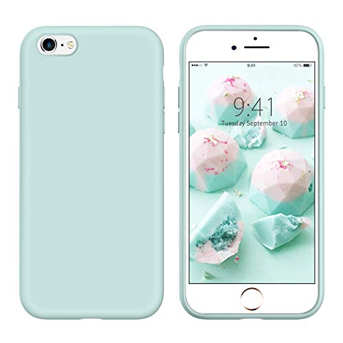 YINLAI iPhone 6S Plus Case Mint Green, iPhone 6 Plus Case Slim Silicone, Drop Protection Non Slip Grip Soft Rubber Protective Cover Hard Back Durable Girls Women iPhone 6S Plus/6 Plus Cover,Mint Green