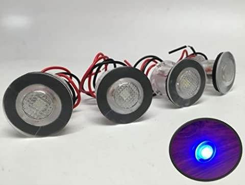 4 Pieces Pactrade Marine Boat LED Livewell Round Button Blue Courtesy Light OEM Waterproof - Blue Light Marina
