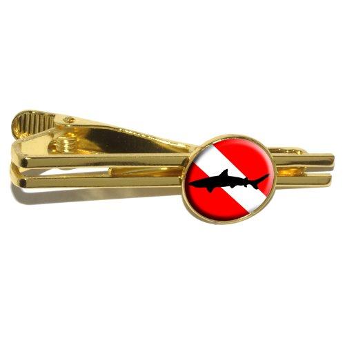 UPC 010315094083, Diving Flag - Scuba Diver Dive - Shark Round Tie Bar Clip Clasp Tack - Gold