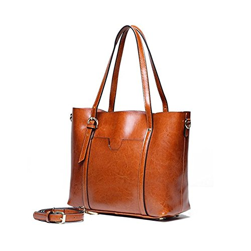 Purplegrape Women's Tote Bag, Vintage Genuine Leather Handbag Shoulder Bag (Brown)