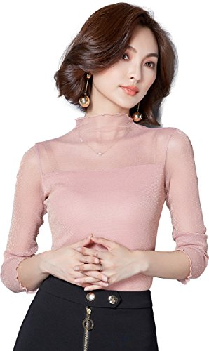 Sexy Sheer Lace Top - Ababalaya Women's Sexy Retro Turtleneck Glitter Sheer Lace Long Sleeve Blouse Top Clubwear,Pink,L