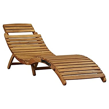 Outdoor Wooden Chaise Lounge S-Shape Folds Up for Easy Storage and Transport Poolside Patio Chair