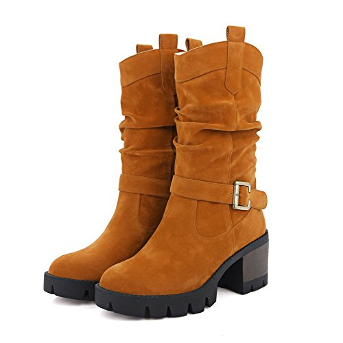 AllhqFashion Womens Imitated Suede Low-top Solid Pull-on Kitten-Heels Boots Brown PrKck