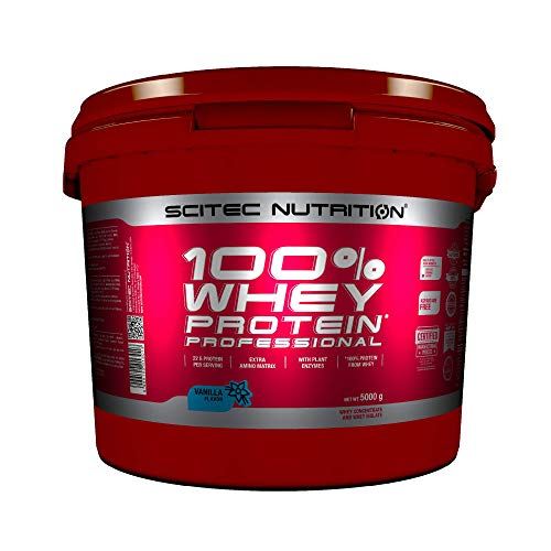 Scitec Nutrition 100% Whey Protein Professional with extra amino acids and digestive enzymes, gluten free, 5 kg, Vanilla