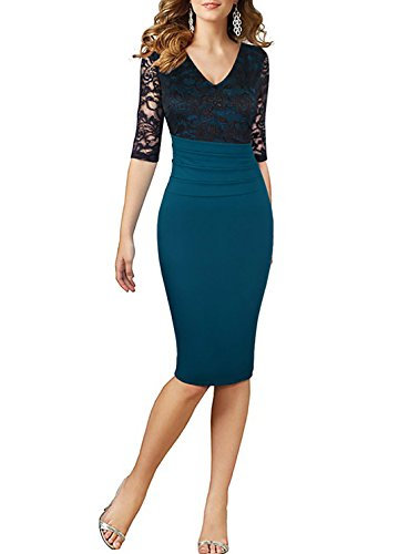 HELYO Lace Dress For Women's Deep V-Neck Sexy Wear To Work Casual Party Midi Dresses 198 (M (Deep Nylon Sheath)