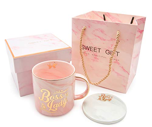 Boss Lady Mugs- Best Christmas and Birthday Gifts for Women Boss Mom- Pink Marble Ceramic Coffee Cup 11.5oz and FREE Coasters (Best Christmas Birthday Gifts)