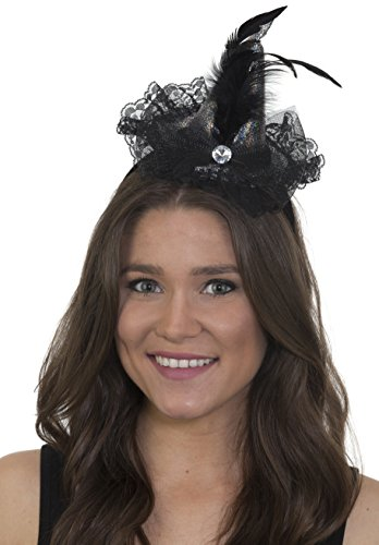 Jacobson Hat Company Women's Mini Witch Hat Headband With Lace Trim, Silver, Adjustable