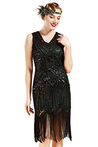 BABEYOND Women's Flapper Dresses 1920s V Neck Beaded Fringed Great Gatsby Dress (Dark Green, XL (Fits 31.5