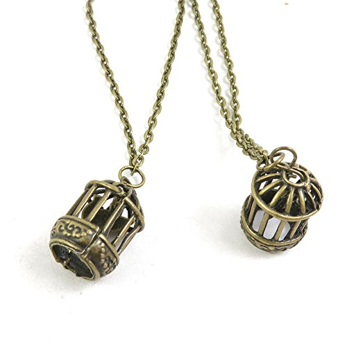 1 Pieces Antique Bronze Fashion Jewelry Making Charms Necklace Costume Sweater Long Chain Pendant XL-GT00073 Bird Cage ()