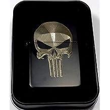 Punisher Skull Black Gift Engraved Cigarette Lighter Biker Gift LEN-0059