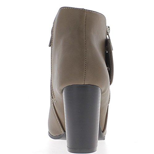 Botines de tacón de mujer topo 8, 5cm con cierre