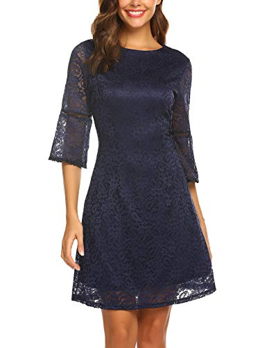 Zeagoo Homecoming Semi Formall Dress Women 3/4 Flare Sleeve Floral Lace Prom Dress Mini Cocktail Party (Navy Blue, L) (Navy Cocktail Blue)