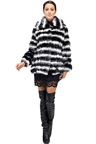 [Adelaqueen Women's Lapel Faux Chinchilla Fur Jacket White and Black XL] (Chinchilla Fur Coat)