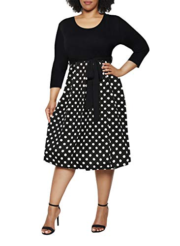 Pink Queen Women's Plus Size 3/4 Sleeve Round Neck Polka Dot Dress with Belt XL Polka Dot ()