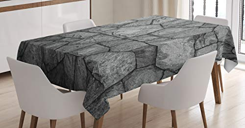 Ambesonne Grey Tablecloth, Stone Wall Texture Image Rough Rusty Blocks Obsolete Structure Antique Grunge Weathered, Dining Room Kitchen Rectangular Table Cover, 60