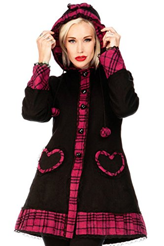 Ladies-Black-And-Pink-Tartan-Rockabilly-Lolita-Coat-Hooded-Jacket-Goth-Punk-Emo