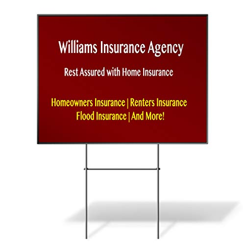 Custom Personalized Yard Sign Company Name Home Insurance Agency Red Red Two Sides Print 18inx12in