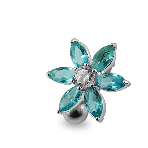 Light Blue Gemstone Fancy Flower Reverse Bar 925 Sterling Silver with Stainless Steel Belly Button Rings - Stone Light Blue Navel Ring