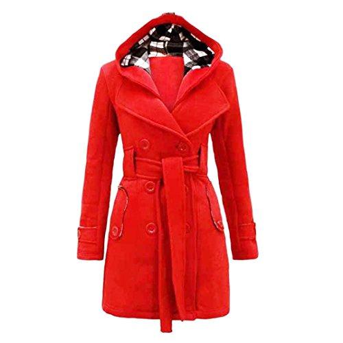 Loose Casual Coat,BeautyVa Fashion Womens Warm Winter Hooded Long Section Coat Belt Double Breasted Womens Warm Winter Hooded Long Section Coat Belt Double Breasted Jacket (L2, Red)