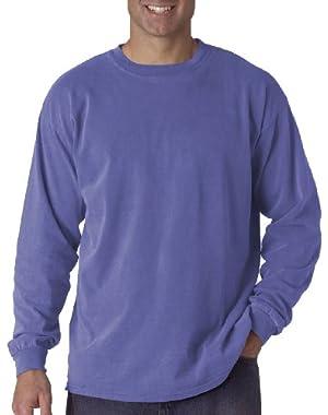 Ringspun Garment-Dyed Long-Sleeve T-Shirt (C6014)- PERIWINKLE, XL