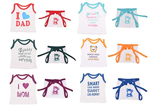 Toddylon Baby Boys and Baby Girls Soft Hosiery Cotton T Shirt and Nappy (Multicolour 0 6 Months) Combo Pack of 6