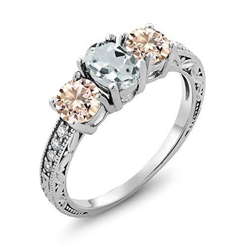 Gem Stone King 1.67 Ct Oval Sky Blue Aquamarine Peach Morganite 925 Sterling Silver Ring (Size 9)