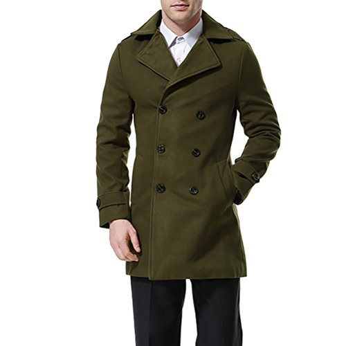 Men's Trenchcoat Double Breasted Overcoat Pea Coat Classic Wool Blend Slim Fit Green (Wool Peacoat Collar Notched)
