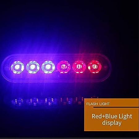 SODIAL 12V-24V 6Led Luz De Emergencia Vehiculo De Emergencia Advertencia del Vehiculo Estroboscopico Intermitente Blanco Y Rojo