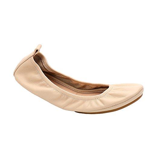 Pocket Travel Women Socks Ballerina Leather Flats Flat Nude 2 Portable Ballet Flat HeaBea Pairs Body Freebie Shoes Genuine Ballet 8xwqWvT5