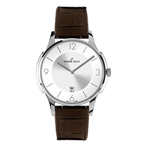 Pierre Petit P-850B Swiss Leather-Band Watch - Silver/Brown