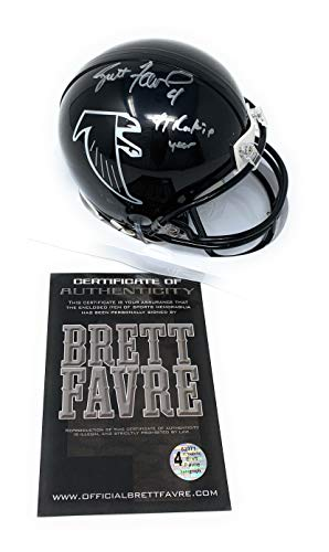 Favre Brett Helmet (Brett Favre Atlanta Falcons Signed Autograph Mini Helmet Rookie Year Inscribed B Favre Certified)