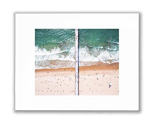 People On Beach Aerial Photo Wall Art, California Sea, Sand & Waves Captured In Gorgeous Manhattan Beach Picture, HD Unframed Wall Décor, Matted Print 8X10 (Fits 11X14 Frame) - Manhattan On Beach Fit
