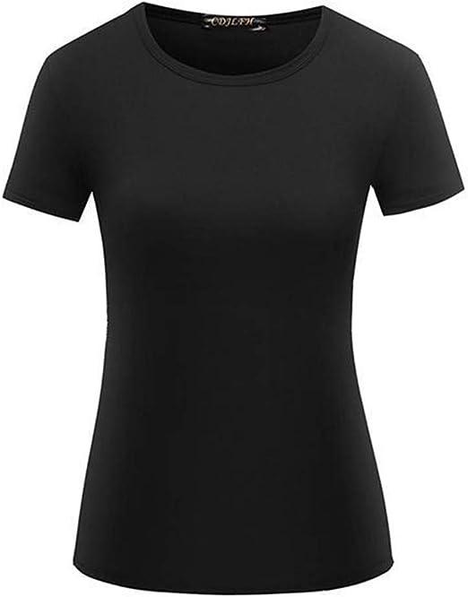 Camiseta de Color Liso para Mujer Tops de Primavera y Verano de Manga Corta para Mujer: Amazon.es: Ropa y accesorios