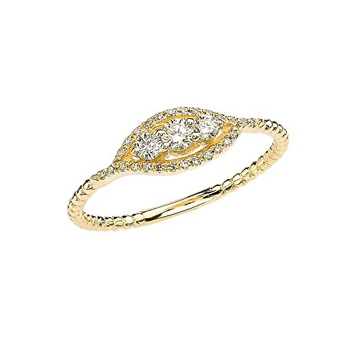 Diamond Three Stone Engagement/Promise Ring Collection in 14k Yellow Gold Rope Design (Size 8) 3 Stone Design Diamond Ring