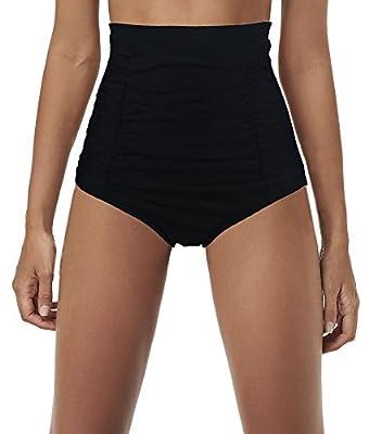 Qiaoer Women's Retro Black High Waisted Bikini Bottom Ruched Swim Short Tankinis Briefs