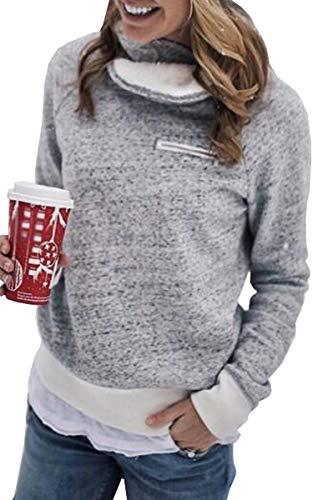 womens long sleeve zipper turtelneck sherpa sweatshirt