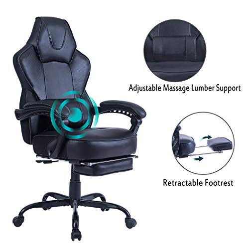 HEALGEN Reclining Gaming Chair with Large Lumbar Support Cushion Racing Style Video Game PC Computer Gamer Gaming Chairs Ergonomic Office High Back Chair with Headrest (9085-Black)
