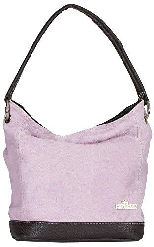 (LIATALIA Womens Girls Handmade Single Handle Real Italian Suede Leather Medium Hobo Handbag Purse - DENISE [Baby Pink])