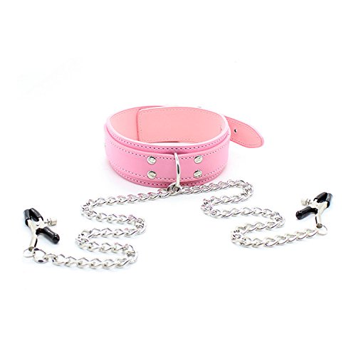KIMMAO PU Collar Punk Gothic Red/Pink/Black Needle Buckle Chain Milk Clip Collar The Collar Suitable for Leather for Stage Props, Halloween Games so (Pink) -