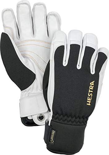 Hestra Waterproof Gore-Tex Ski Gloves: Mens and Womens Army Leather Winter Cold Weather Gloves, Black/Off White, 9