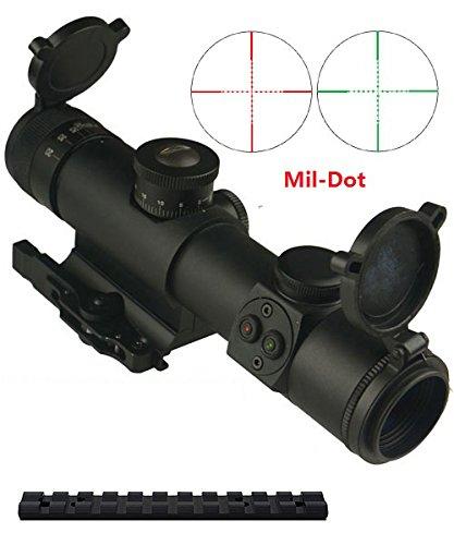 m1surplus Tactical Style 4x21 Dual Color Illuminated Reticle w/Digital Switch + Integral Quick Detach Mount + Flip-Open Lens Covers + Adjustable Focus + Weaver Type Scope Mount Ruger 10/22 Rifles
