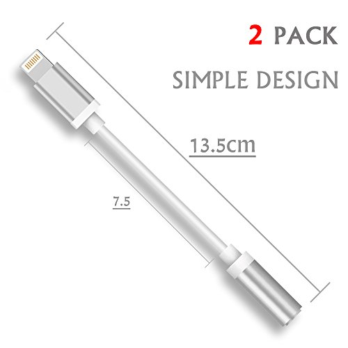 Lxyugg Lightning Audio Adapter for iPhone 7 and iPhone 7 Plus.[White][2-PACK] (Iphone Earphone Adapter)