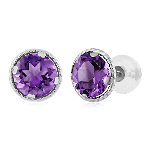 14K White Gold Round Purple Amethyst Gemstone Birthstone Stud Earrings (1.40 cttw, 6MM)